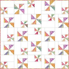 SCATTERED PINWHEELS Baby Quilt Pattern 40 x 40