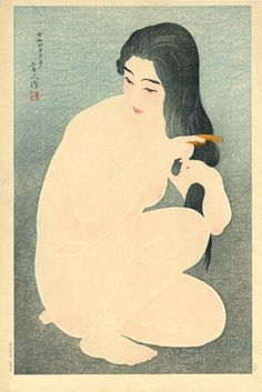 Vintage japanese erotic nudes art prints, Beauty combing her hair Torii Kotondo, FINE ART PRINT, japanese woodblock print reproduction Japan Illustration, Art Chinois, Art Asiatique, Art Japonais, Japanese Painting, Japanese Prints, Japan Art, Woodblock Print, Chinese Art