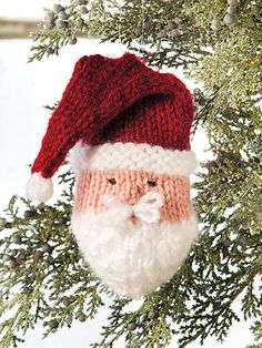 Knitted santa ornament from Deck the Halls: 20+ Knitted Christmas Ornaments pattern book from Annie's Craft Store. Order here: https://www.anniescatalog.com/detail.html?prod_id=126031