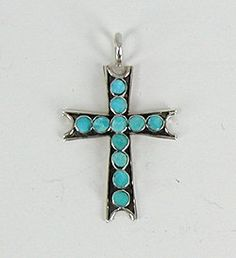 Authentic Native American Zuni Sterling Silver and Turquoise  Cross Pendant