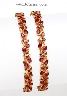 22K Gold Ruby Bangles - Set of 2 (1 Pair) - 235-GBL612 - Buy this Latest Indian Gold Jewelry Design in 38.350 Grams for a low price of $2,675.39