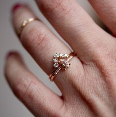 Holy crap this is purdy too! ❤❤❤❤❤😮💩14K Pear Morganite Solitaire Ring Pave Set Diamond by LieselLove