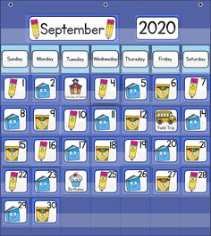 Back to School Calendar Numbers for your classroom calendar - perfect to start off the year!  Includes school supply themed calendar numbers in an ABC pattern - pencils, books and boxes of markers, matching month labels, year cards, and special days/holiday cards. Can be used in a pocket chart calendar, a homemade poster board calendar, or for various number activities.  #classroomcalendar #backtoschool #kindergartencalendar Kindergarten Calendar, Calendar Activities, Classroom Calendar, Apple Activities, Number Activities, School Calendar, Back To School Activities, Homemade Posters, Month Labels