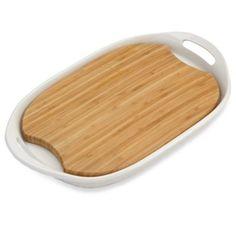 CorningWare® French White® III Platter with Wood Insert - BedBathandBeyond.com