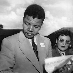 Lawyer and antiapartheid activist Nelson Mandela with fellow activist Ruth First at an African National Congress conference in Bloemfontein South.