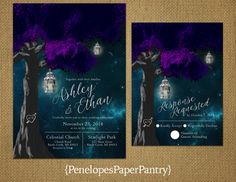 Penelopes Paper Pantry is proud to list our collection of Fall and Halloween Wedding Invitations.  The wedding invitations are fully customizable for your big day. This listing is for printed invitations. There is a 24 count minimum per order or per color. Our wedding invitations are printed on premium quality 100lb matte paper with a brand new commercial grade digital copier. The finished invitation size is 5 x 7 and includes a white envelope. The finished RSVP size is 4 x 6 and also…