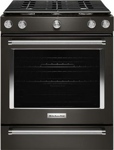 KitchenAid - 5.8 Cu. Ft. Slide-In Gas Convection Range - Black stainless steel - Front_Zoom