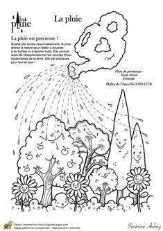 Dessin à colorier d'un haïku sur le thème de la pluie
