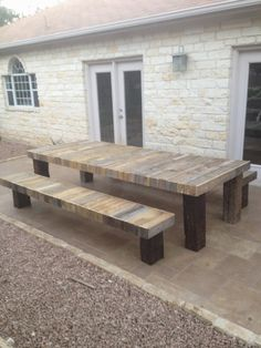 Custom reclaimed wood table with benches by Wimbocustomcreations, $1100.00. This could be a fun DIY project!