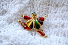 Enamel Court Jester/Clown Brooch Rhinestones Gold Bright Enamel 1980s by SokolProjectsVintage on Etsy