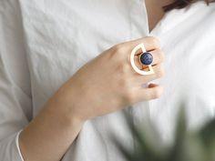 Half Circle Lapis Lazuli Ring-Gold Plated Brass by yukabyguliz