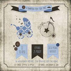 Προσκλητήριο βάπτισης vintage με ποδήλατο και καρότσι Christening Themes, Theme Ideas, Kids Rugs, Invitations, Toys, Vintage, Home Decor, Activity Toys, Decoration Home
