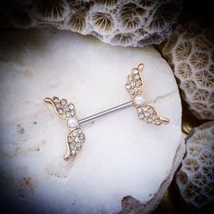 Angel Wing Golden Snitch Nipple Bar 14G Pearl by ThrowBackAnnie