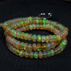 32 cts 17 4 mm Ethiopian Opal Beads Super Green Red Fire Opal Necklace   eBay