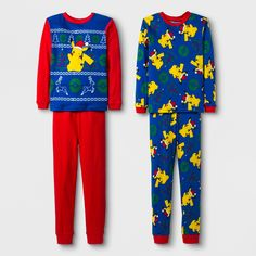 2864aca694 Help him take on the holiday season in comfortable style with this boys   Four-Piece Pokemon Pajama Set. One two-piece pajama set includes red  bottoms and a.