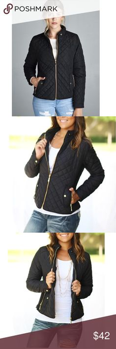 ✨NEW✨ Quilted Bomber Jacket NWT. One of the hottest trend of this season! Black Quilted Bomber Jacket! A must have for your wardrobe! Stylish and cozy!!!  This jacket features a front zip closure, 2 stretch-knit side panels, side zipper pockets, button faux pockets and brown trim.   * 100% Polyester  Size: Small(0-4), Medium(6-8), Large(10-12)  PRICE IS FIRM UNLESS BUNDLED! Add to bundle to save when purchasing 2 or more items from my closet!😉 Jackets & Coats Puffers