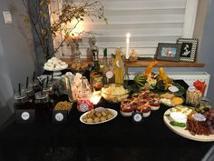Halloween theme table, creepy food, black and orange, fall party, October
