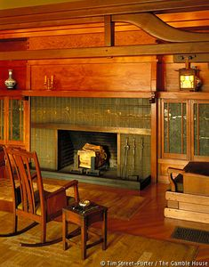 Living-room fireplace and inglenook. Greene and Greene. Pasadena Ca. 1909 : Living-room fireplace and inglenook. Greene and Greene. Pasadena Ca.
