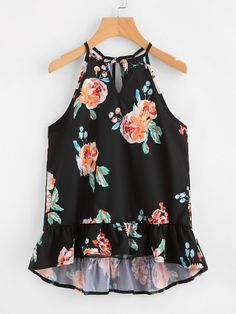 SheIn offers Keyhole Cut Frill Hem Random Florals Cami Top & more to fit your fashionable needs. Cute Blouses, Cute Shirts, Cute Summer Outfits, Pretty Outfits, Blouse Styles, Blouse Designs, Western Tops, Fashion Corner, Girl Outfits