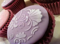 Lavender Stencil Cupcake
