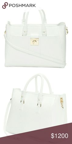 BNWT WHITE VERSACE SATCHEL 100% AUTHENTIC VERSACE SATCHEL  Lovely bag. For the sophisticated lady.  Item is authenticated from my private source/vendor and will be confidently double authenticated through Poshmark's Concierge service for added protection and security for you the buyer. Enjoy your bag, cupcake! Versace Bags Satchels