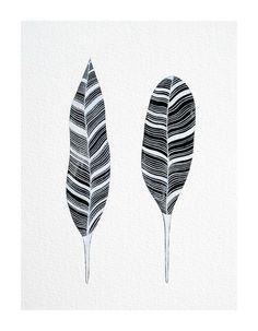 original contemporary monochrome watercolour painting // striped black feathers // nature inspired art by natasha newton. £40,00, via Etsy.