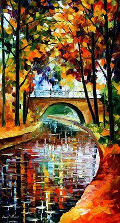 "Artwork - Delightful Park — Fine Art River Landscape Oil Painting On Canvas By Leonid Afremov. Size: 20"" X 36"" Inches (50cm x 90cm)"