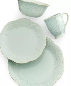 Lenox Dinnerware, French Perle Collection & Reviews - Dinnerware - Dining - Macy's Fine China Dinnerware, Stoneware Dinnerware, White Dinnerware, Ceramic Tableware, Kitchenware, Casual Dinnerware Sets, Dinnerware Ideas, Lenox French Perle, Ice Blue Color