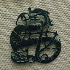 "asatru-ingwaz: """" Urnes Dragon Brooch Eleventh century Viking brooch with an Urnes style dragon design. From Vaga, Oppland, Norway. From the collection at the British Museum, London. Medieval Jewelry, Viking Jewelry, Ancient Jewelry, Viking Life, Viking Art, Memento, Viking Designs, Viking Culture, Old Norse"