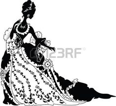 principessa vintage: Silhouette grafica di un lusso rococò Moda donna