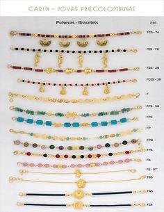 Industrias Carin Ltda - Pulseras - Brazaletes Fotos 10, 11, 12 Aztec Jewelry, Beaded Bracelets, Jewellery, Bangles, Gold, Jewels, Cooking, Pearl Bracelets, Schmuck
