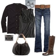 Blue jeans. Gray.