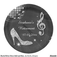 Black/Silver Disco Ball and Heels Retirement Paper Plate  sc 1 st  Pinterest & Purple Disco Ball and Heels 50th Birthday Paper Plate | Disco ball ...