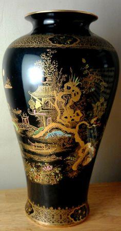 Collectible A.G. Harley Jones Wilton Ware Baluster Lamp Base Oriental Design