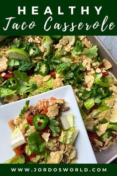 Why make one taco when you can make an entire pan? Get a tasty taco casserole with this quick and easy 30-minute healthy dinner recipe! Healthy Tacos, Healthy Appetizers, Delicious Dinner Recipes, Brunch Recipes, High Protein Recipes, Healthy Recipes, Mexican Food Recipes, Real Food Recipes, Easy Oven Recipes