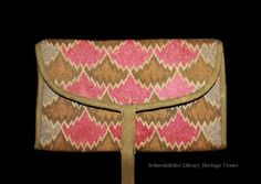 Pocketbook, Chestnut Hill, Montgomery County PA, 1768. Made by or for Regina S Yeakle Schultz. Trimmed in green wool twill. More embroidery under the flap - same design in sky blue, bright green, navy. Interior green silk. Schwenkfelder 2002.10.02