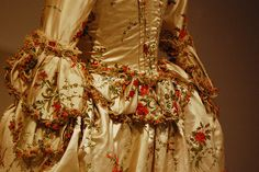Court dress, 18th century, embroidery details by cripplemusic, via Flickr