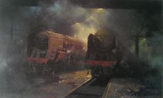 Wildlife and railway artist David Shepherd. A Britsh contemporary oil painter who has received worldwide acclaimation for his African wildlife and steam locomotive paintings. Steam Railway, Train Art, Old Trains, Train Engines, Cowboy Art, Steam Engine, Steam Locomotive, Native American Art, Art Gallery