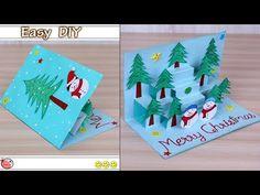 DIY Christmas Pop Up Card - make Christmas tree Card at House Diy Holiday Cards, Simple Christmas Cards, Christmas Paper Crafts, Homemade Christmas Cards, Christmas Tree Cards, Handmade Christmas, Christmas Greetings, Christmas Trees For Kids, Christmas Pops