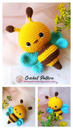 Crochet Bee, Cute Crochet, Crochet For Kids, Crochet Crafts, Crochet Yarn, Crochet Projects, Crochet Ideas, Doll Patterns Free, Crochet Patterns Amigurumi