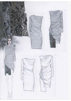 Fashion Sketchbook layout - draped dress design development with fabric swatches