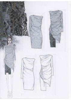 Fashion Sketchbook layout - draped dress design development with fabric swatches; fashion portfolio // Emily-Mei Cross