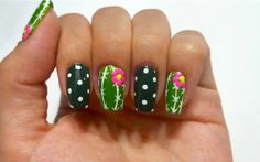 Cactus nail art design. Inspired by MyDesigns4You.
