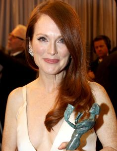Julianne Moore Red Hair Color - 1) Base to Ends:  4CR (1oz)  6BC (1oz)  Mix with: 20 volume activator  For added warmth: Use Hairmonics Turbo activators to process; however, adjust timer under dryer from 5-10 minutes, and let cool for longer than 15, if needed. [Continued]