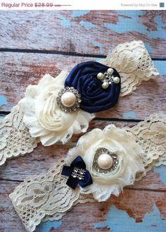 SALE(((LOOK))) / wedding garter / NAVY Blue / bridal garter/ lace garter / toss garter / Something BLue wedding garter / vintage inspir. $25.99, via Etsy.
