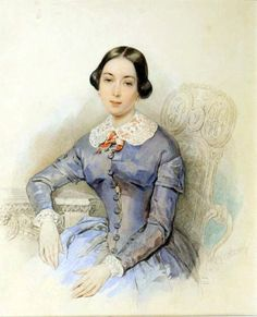 1840 Princess Alexandra Galitzine by Petr Fedorovich Sokolov (location unknown to gogm) Classic Paintings, Paintings I Love, 1800s Clothing, Art Deco Cards, 1850s Fashion, Old Portraits, Princess Alexandra, Miniature Portraits, Pastel Watercolor