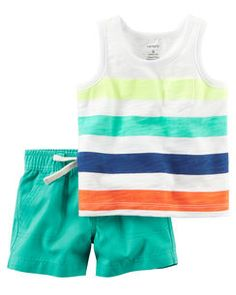 This boys' Carter's tank top and shorts offer him a colorful look with multi-stripes and bold turquoise shorts. Little Boy Outfits, Little Boy Fashion, Baby Boy Fashion, Toddler Outfits, Baby Boy Outfits, Kids Outfits, Kids Fashion, Short Niña, Short Set