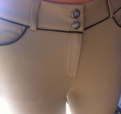 Lo Ride Equestrian Show Tan Breech with Navy Piping