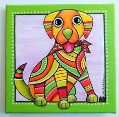 """Tableau de """"Bawoo"""" le gentil chien tout en couleurs"""