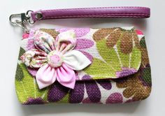 Green Purple Floral wristlet for cell phone coins iPhone by Noonew, $9.00